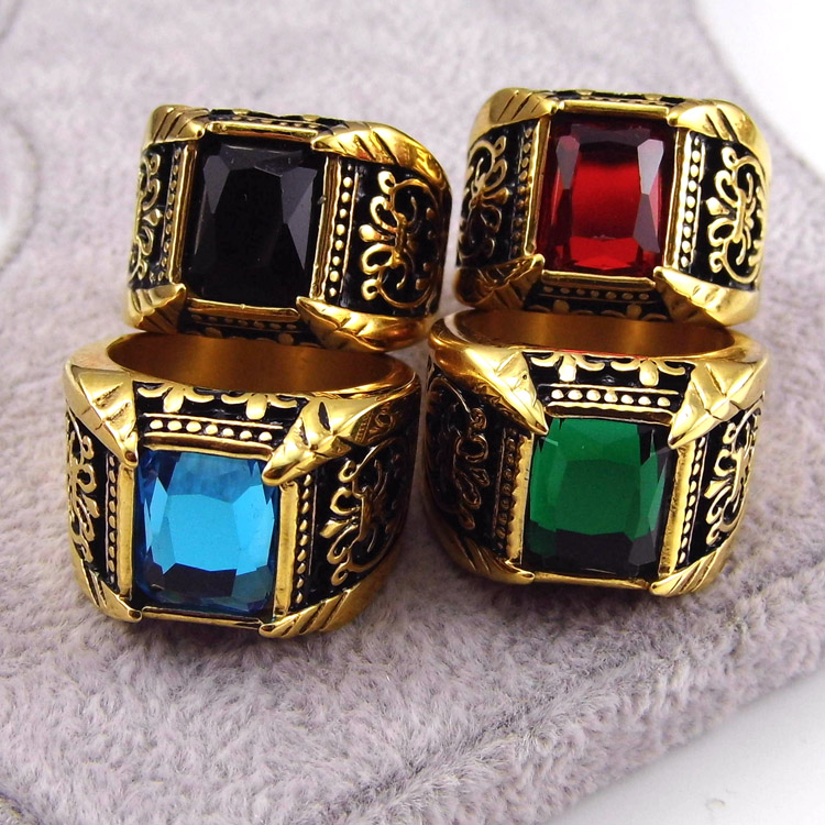 Men Ring Best Selling Gifts 18K Gold Stainless Steel Jewelry Fashion Luxury Antique Ruby And Sapphire Men's Ring(China (Mainland))