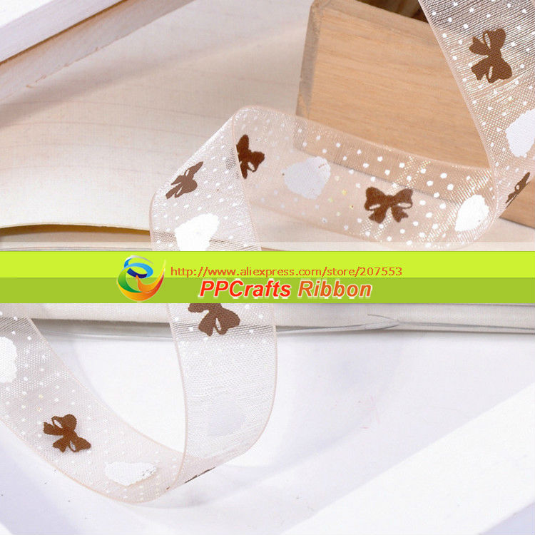 """1"""" 25MM Heart & Dots & Bows Printed Organza Ribbon Sheer ribbon For Girls Hair Bows Making Free Shipping(China (Mainland))"""