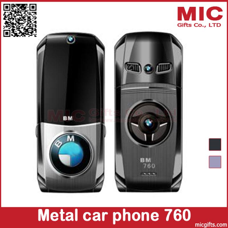 Flip unlocked Russian Keyboard metal super car model design car key mini mobile cell phone 760 P003(China (Mainland))