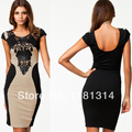 free shiping wholesale hot 2014 Women Dress New Fashion 2014 Club Dress with Embroidery Patchwork Sexy