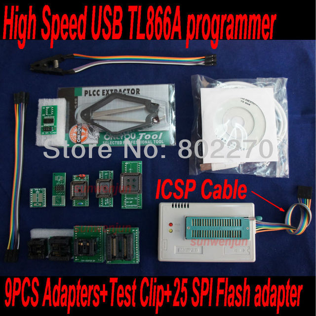 USB Programmer EPROM SPI FLASH AVR GAL PIC TL866A ICSP in-circuit programming+9pcs adapters+test clip+25 SPI Flash adapter