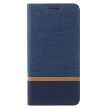 for Lenovo P 2 Leather Phone Case Contrast Color Card Slot Leather Mobile Case for Lenovo P2 Built-in Steel Sheet - Dark Blue(China (Mainland))