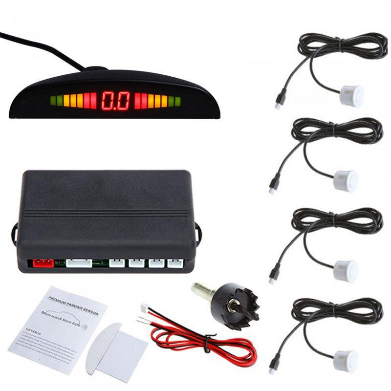 LED Car Parking Sensor System Assistance Reverse Backup Radar Car Detector Monitor System Backlight Display+4 Sensors(China (Mainland))