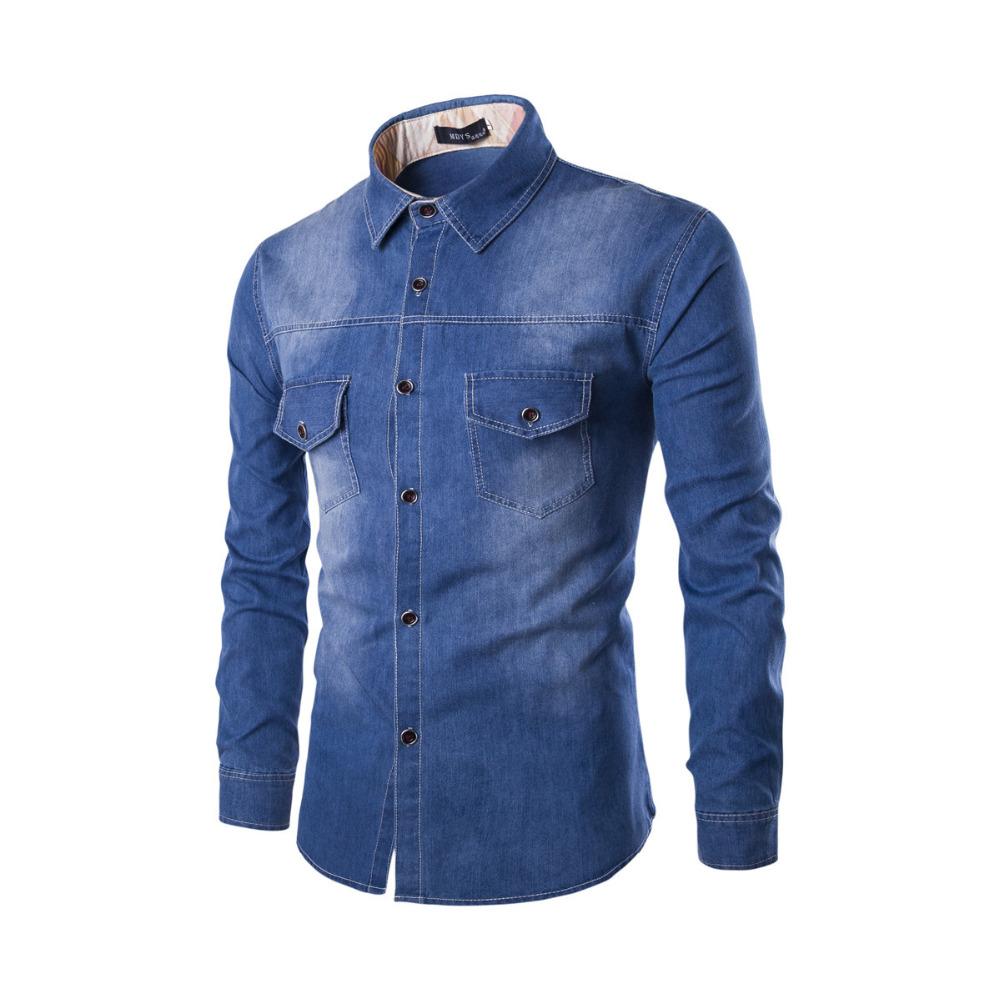 Popular two pocket mens shirts buy cheap two pocket mens for Buy denim shirts online