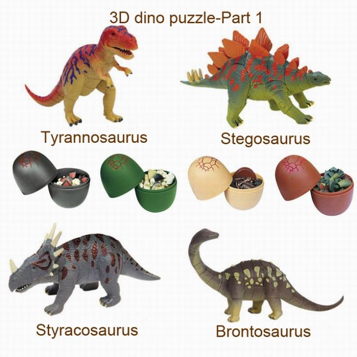 free shipping 4pcs 3D dinosaurs puzzle egg 0366S-1 plastic puzzle educational toy building kits 3d puzzle(Hong Kong)