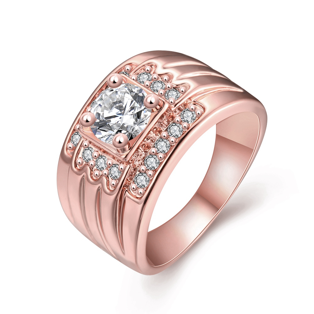 24k Gold Colour CZ zircon Ring for Men Vintage Jewelry Crystal Anel Masculino Joias Engagement Wedding Rings 2016(China (Mainland))