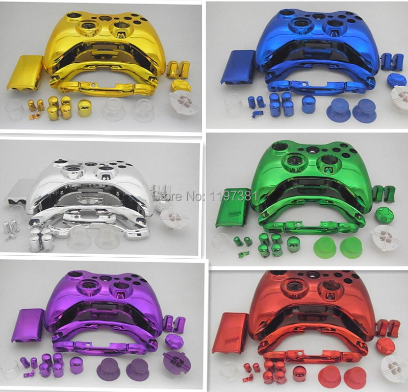 Polished Replacement Chrome Joypad Shell Case Cover Custom for Xbox 360 Controller red gloden sliver green and purple(China (Mainland))