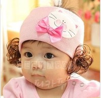 Free Shipping Baby Girl HairBands Infant Toddler Bowknot Headbands Headwear With Wig Retail Lc-13110709