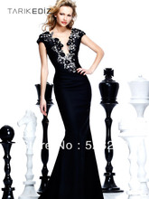 2016 Sexy Deep V-Neck Floor Length Flowers Open Back Black Female Evening Dress/Gown/Prom Gowns/Dresses H4068(China (Mainland))