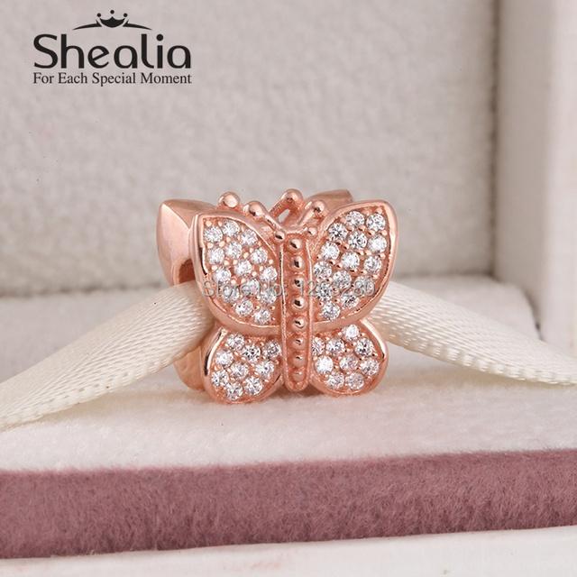 Весна вымощает покрытие из розового золота бабочка подвески-талисманы 925 чистое серебро SHEALIA ювелирные изделия для женщины своими руками браслеты GP058
