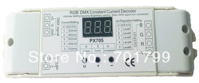 PX705;DMX constant current decoder;300ma/350ma/500ma/650ma/700ma optional;easy to set dmx address by button