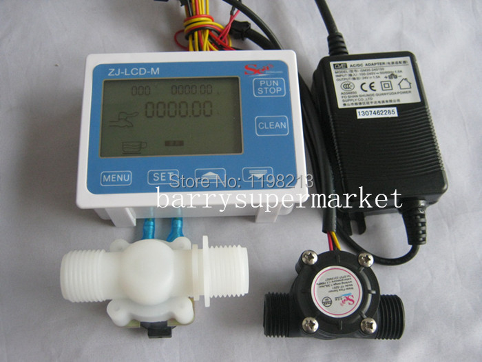 4-piece set G1/2 Water Flow Control LCD Display+Flow Sensor +Solenoid valve +Power Adapter<br><br>Aliexpress