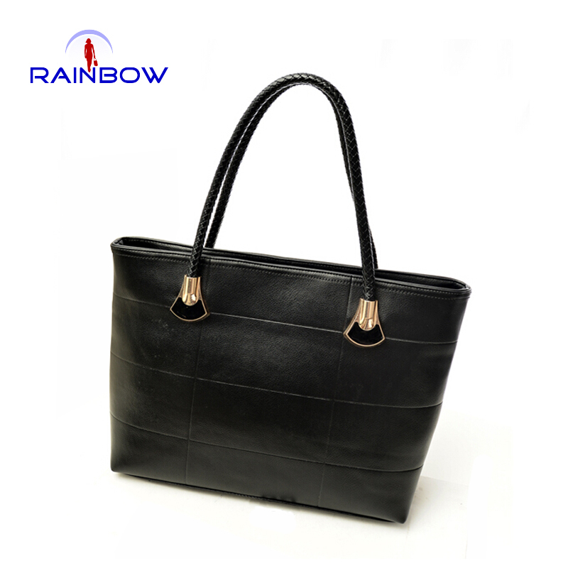 Simple Design Women Handbags Candy Color Shoulder Bags PU Leather Lady Hand Bags Black Color(China (Mainland))