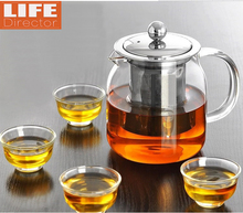 Big 1200ml Tea Kettle Manual Heat Resistant Glass TeaPot Tea Set With Filter Infuser Tea Pots