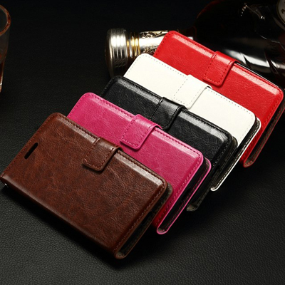 10pcs/lot Crazy Horse Wallet Stand Design PU Leather Case Back Cover For LG Joy H220 With Photo Frame in Stock