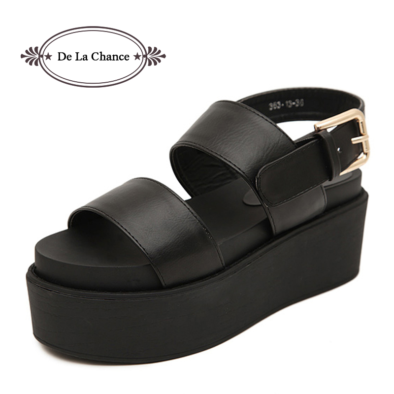 2014 New summer black women's sandals platform wedges thick high heels sandals belt buckle open toe plus size shoes Eur35-42