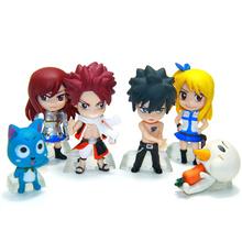 Anime Fairy Tail PVC Figure Model Keychain 6 pcs/set Natsu Happy Lucy Gray Elza Fairy Tail Toy Action Figures Keychain(China (Mainland))