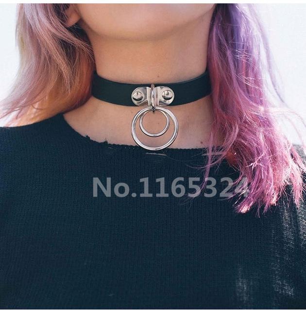 Топ сексуальная о круглый ожерелье 100% ручной панк-рок кожа колье воротник ожерелье мода кнопку ювелирные изделия