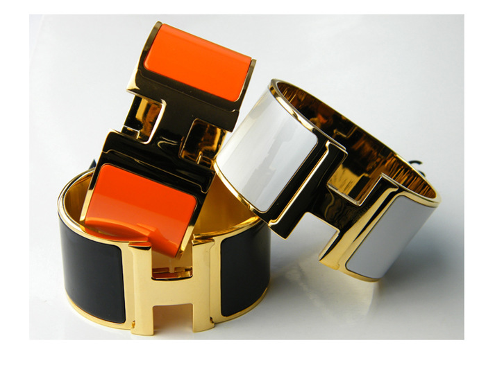 Titanium steel rose gold Foreign selling jewelry Classic 3.3 wide color paint chip is rotated buckle bracelet(China (Mainland))