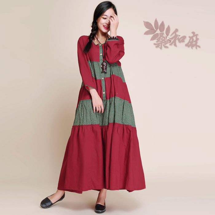 S.MA.Spring Summer Ethnic Bohemian 3/4 Sleeve Botton Pockets Patchwork Casual Loose Plus Size Cotton Linen Long A-Line DressesОдежда и ак�е��уары<br><br><br>Aliexpress