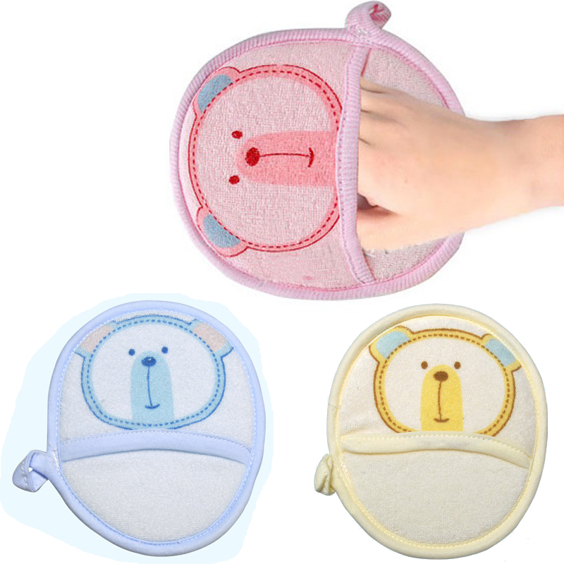 Cute Lovely Cartoon Bear Super Soft Baby Infant Kids Bath Shower Body Brush Wipe Sponge Rubbing Towel Ball Random color New(China (Mainland))