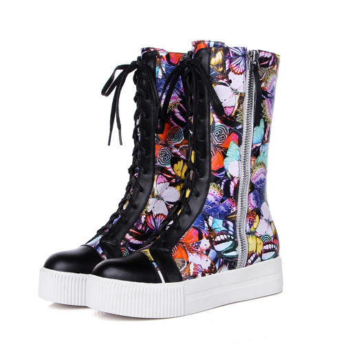 Butterfly Print Grain Leather boots Autumn Winter Martin boots fashion Lace-Up  Wedges women Sneakers Shoes motorcycle<br><br>Aliexpress