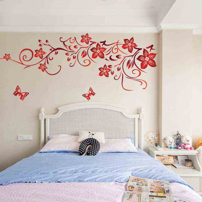 Dark Red Colorful Flowers Wall Art 1702 Living Room Diy Removable Wall Sticker Bedroom Wall