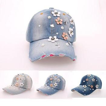 2015 hat sales cowboy rhinestone hat Floral point drill denim bone baseball cap snapback hats for women cheap fashion sale caps