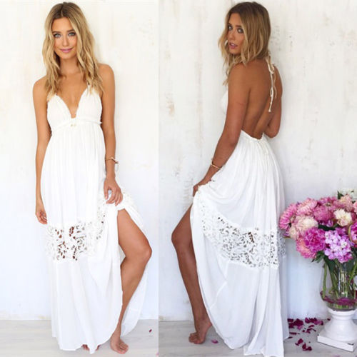 summer style femmes blanc dentelle boh me sexy robe de soir e plage backless longues hobo robe. Black Bedroom Furniture Sets. Home Design Ideas