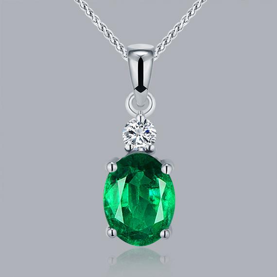 18K White Gold Emerald Pendants Genuine Diamond Oval Cut 6x8mm WP057<br><br>Aliexpress