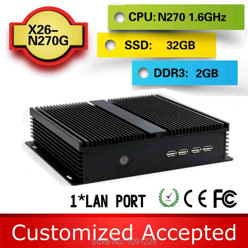 Cheapest Mini cpu Windows 7 professional Micro computer X26-N270G 2g ram 32g ssd with 2*com + 8*usb2.0(China (Mainland))