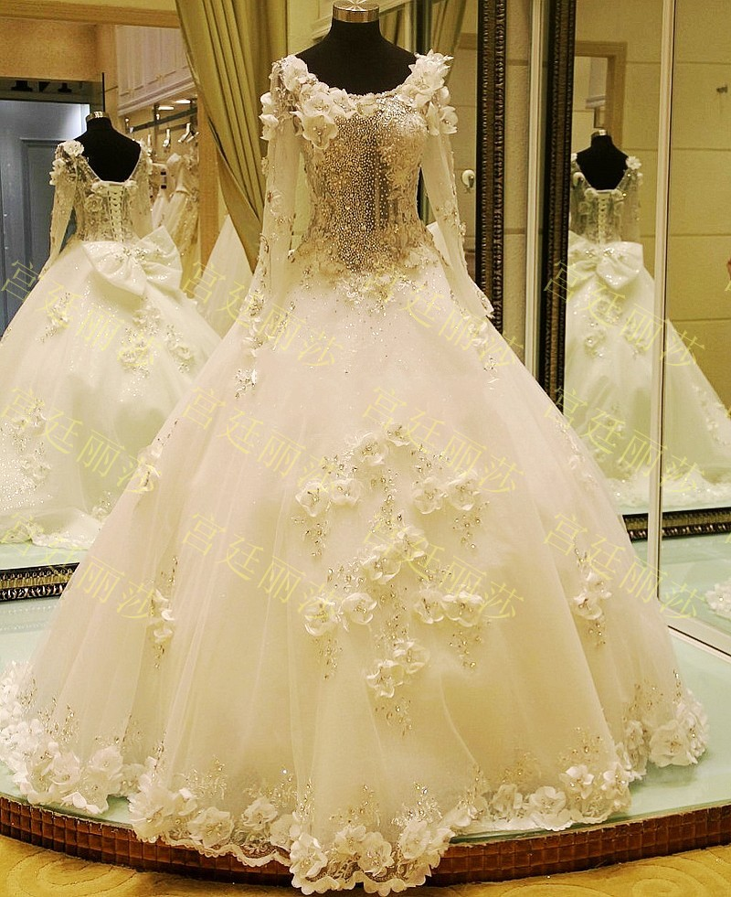 2015 new flower scoop wedding ball gown crystal long for Long sleeve sequin wedding dress