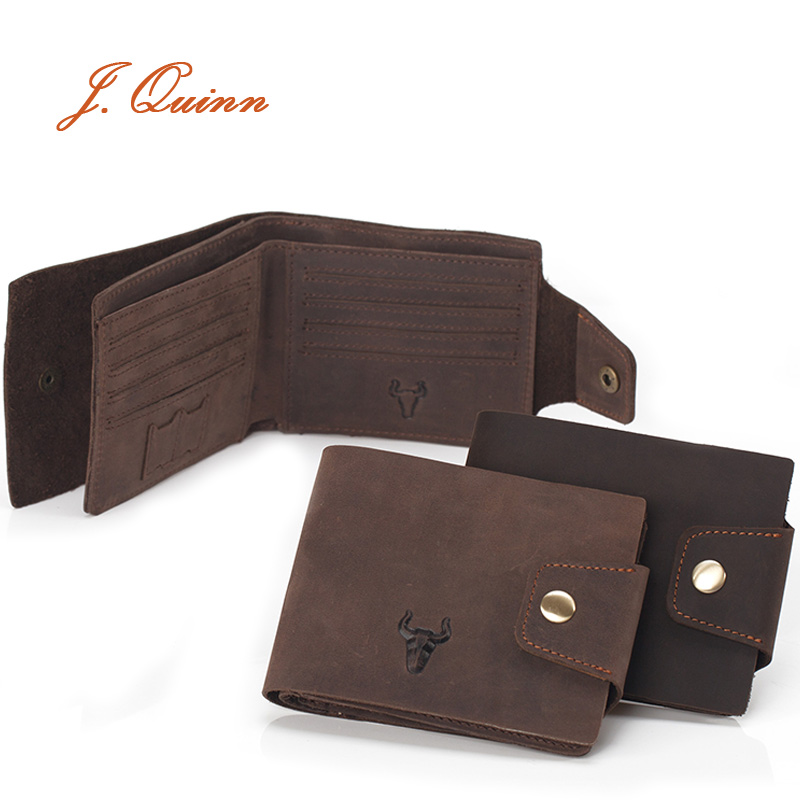 J.Quinn Men's Leather Wallet Hasp 11 Card Holder Genuine Cow Soft Brown Vintage Fashion Short Wallets for Man Mini Sd Purse(China (Mainland))