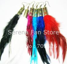 12 pairs/lot Free shipping Vintage Design Colorful Natural Long Rooster Feather Earrings 6 colors mixed EF046(China (Mainland))
