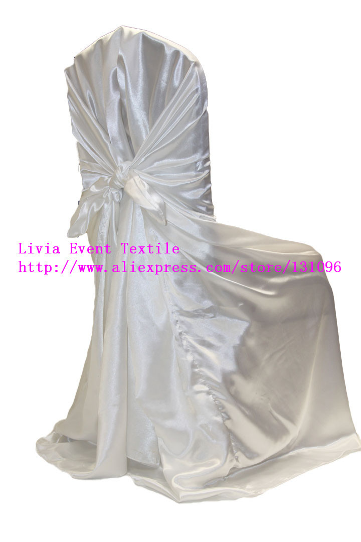 100pcs White Satin Back Self tie Chair Cover,White Satin Universal Chair Cover for Wedding Events &Party Decoration(China (Mainland))