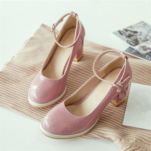 Plus Size 34-48 spring woman high heels Shoes Crystal Buckle Round Toe Nude Patent Leather Pumps Party Wedding Sexy Ladies - Man Sharinna store