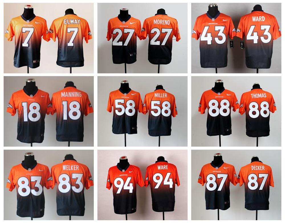 Denver Broncos Drift Moda II Elite Peyton Manning, Von Miller, Demarcus Ware, Demaryius Thomas, Derek Wolfe, koğuş, Paxton Lynch(China (Mainland))