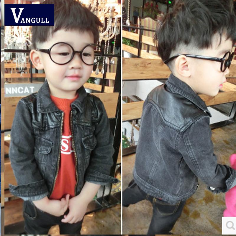 2016 autumn and winter hot boys classic fashion denim jacket black leather stitching washing children's coat(China (Mainland))