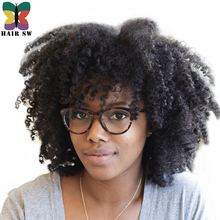 Buy HAIR SW Short Afro Natural hair Kinky Curly Synthetic Front Lace Wigs Natural Big frizzy hair Color Glueless Wig Black Women for $47.89 in AliExpress store