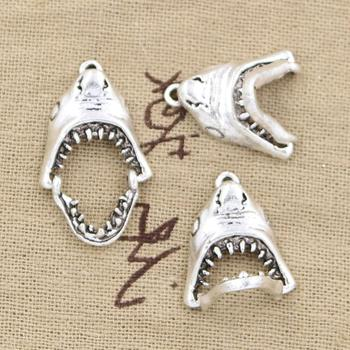10pcs Charms opened shark mouth 30*28mm Antique pendant fit,Vintage Tibetan Silver,DIY for bracelet necklace