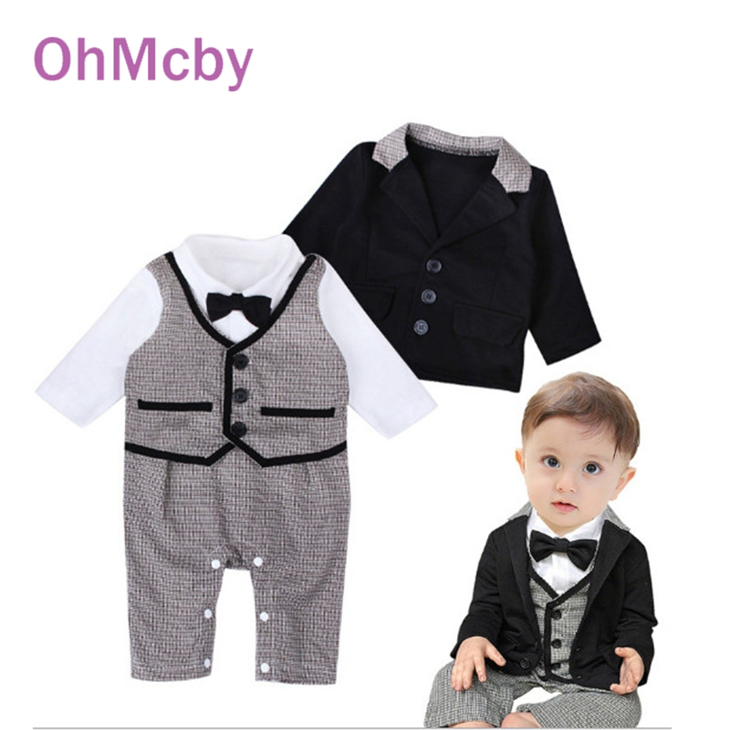 2016 Fashion Gentleman Baby Boy Clothing Set Full Sleeve Coat T-shirt Rompers with bow tie 2-piece/set infant baby Wedding Suit(China (Mainland))