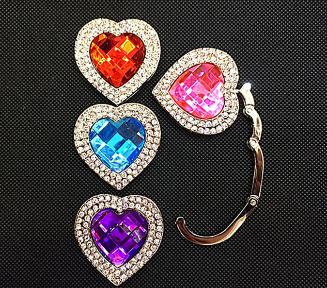 1pcs Portable Fold Rhinestone Decor Gift Bag Handbag Hanger Holder purse hanger hook Table Purple(China (Mainland))