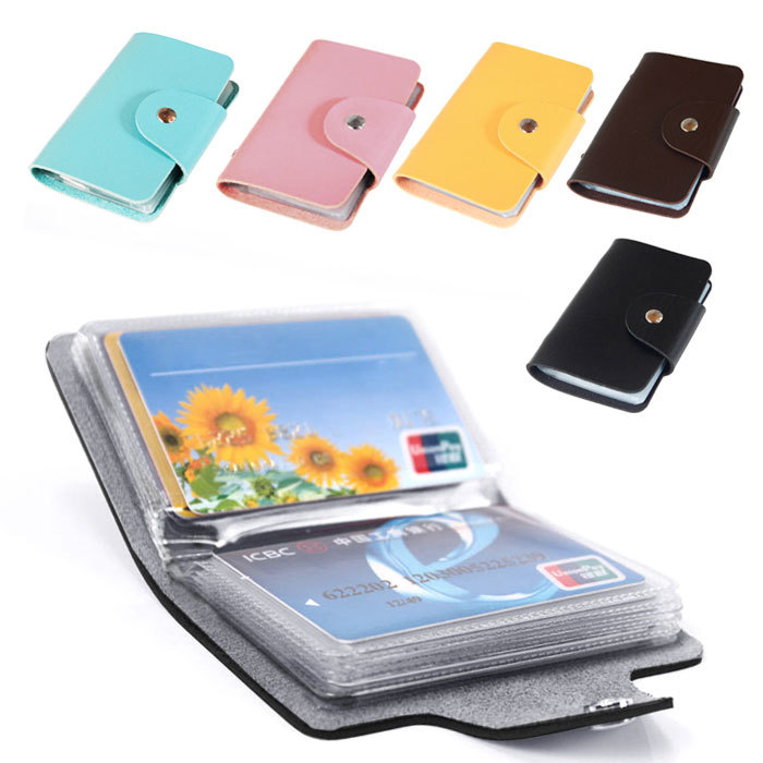 New 24 Cards Pu Leather Credit ID Business Card Holder