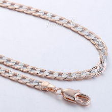 Customized 4mm Flat Hammered Cuban Silver 18K Rose Gold Placted Necklace Mens Chain Womens 18KGF Wholesale