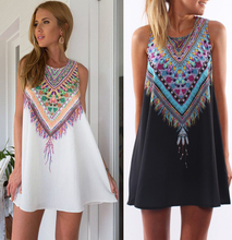 2015 Sexy Women Summer Casual boho Maxi Party Evening Mini Dress Beach Floral dress sleeveless dresses casual free shipping(China (Mainland))