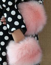 Autumn and winter women's girl's super Large fox fur cuff oversleeps hand ring fur bracelet wrist  hand ring arm warmers L123(China (Mainland))