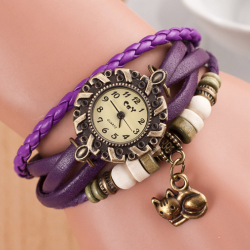 lovely cat pendant girls dress accessories bracelet fashion wristwatches outdoor high quality Quartz watch casual new Watches(China (Mainland))