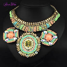 Indian Style Handmade Collar Necklace Colorful Beaded Circle Pendant Statement Chokers Necklaces Fashion Jewelry Accessories