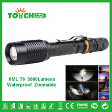 3000 Lumen CREE XM-L T6 Torch light Tactical linternas Zoom waterproof Led Flashlight led lamp For 2x18650 Battery Camping 8067(China (Mainland))