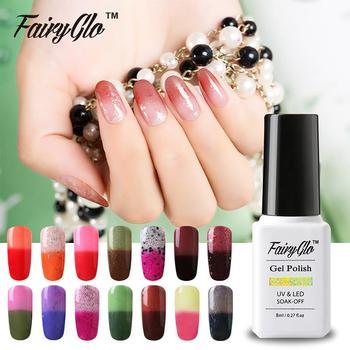 FairyGlo 8ml Temperature Color Change Nail Polish Chameleon Varnish Gels For Nails Need Nail Primer Gel Nail kit Pick 1 Color